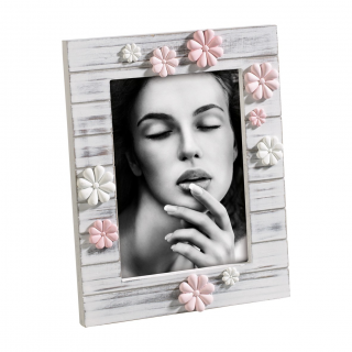 A285 FRAME WOOD WHITE/RESIN ROSE FLOWERS 13x18